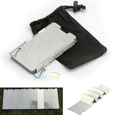 9 Plates Survival Foldable Cooker Gas Stove Wind Shield Metal Camping Windscreen