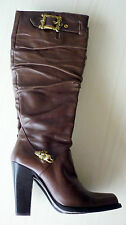 Bottes boots à talon en cuir marron 35 LE SILLA leather high heel boots UK 2,5