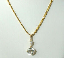 Yellow Gold Necklace 9k Chain Simulated White Topaz Gemstone Pendant 18in