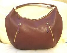 Cole Haan Pebbled Leather Hobo Shoulder Bag - Burgundy