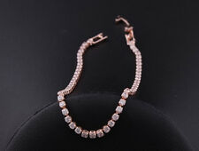 """18K Rose Gold Plated Tennis Bracelet with Sparkling Cubic Zircon Crystals 6.75"""""""