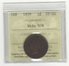 **1859 Wide 9/8**, ICCS Graded Canadian, Large One Cent, **VF-20**