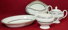 WEDGWOOD England china COLONNADE BLACK R4340 6-piece HOSTESS Set bowl gravy +