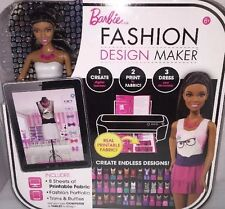 BARBIE FASHION DESIGN MAKER Doll Printable Fabric Trims Ruffles Portfolio Doll
