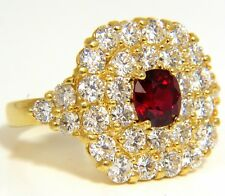 $14000 GIA 4.79CT NATURAL RED NO HEAT RUBY DIAMONDS CLUSTER RING 18KT UNHEATED