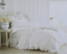 Rachel Ashwell Simply Shabby Chic White Ruffle Lace Duvet Set NEW 3pc Full/Queen