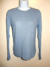 CHARTER CLUB 100% CASHMERE LIGHT BLUE GRAY TINT CREWNECK CABLE KNIT SWEATER P