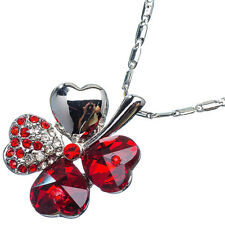 6.90 Ct Heart Cut Style Shape Red Garnet / Ruby CZ 18K White Gold Plated Pendant