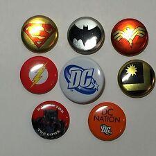 DC Comics comic con promotional button set of 8 - Batman Superman Flash WW etc.