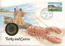 superbe enveloppe TURKS CAICOS CAIQUES pièce monnaie 25 CTS 1981 UNC NEW timbre