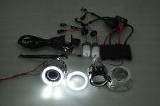 "stone 2.5"" HID Projector Car Headlights Retrofit Shroud H7 H4 Angel Eye KIT"