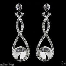 BEAUTUFUL  DIAMANTE RHINESTONES CRYSTAL WEDDING SILVER EARRINGS