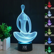 Yoga Meditation 3D illusion LED Night Light 7 Color  Table Desk Lamp Xmas Gift