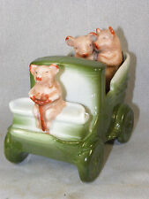 (3) PINK PIGS w/ CHAUFFEUR in Green Limousine - LARGE Antique German Fairing
