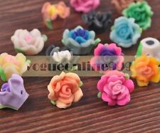 10pcs Rose Flower Loose Spacer Beads Sweet Polymer Clay Charms DIY Mixed Color