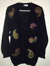 Sequined Womens Christmas Party Sweater Sz M  Button Up Lindsey Blake 111215