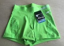 "Womens Nike Pro Hypercool 3"" Training Shorts, Gym Running, Small, Green, UK 8-10"