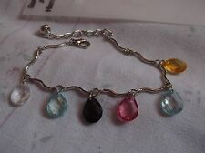 BRAND> NEW >FASHONABLE>SILVER>PLATED>WITH>COLOURED> DROP>BEADS>BRACELET.