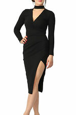 Womens Ladies Choker Wrap Over Asymmetric Long Sleeve Bodycon Pencil Dress Party
