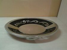 "Lenox Quality 11 3/8"" Bread Tray Spyro Black Design Metal & Glass Serveware"