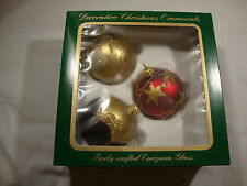 "3 Decorative Christmas Ornaments Balls Colored Glass Medium 3.5"" Tall Germany"