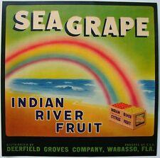 SEA GRAPE Vintage Wabasso Florida Citrus Crate Label, *AN ORIGINAL FRUIT LABEL*
