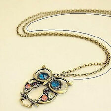 Vintage Style Bronze Colorful Crystal Hollow Owl Shape Pendant Chain Necklace