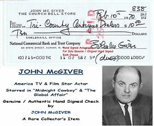 JOHN McGIVER  TV  FILM STAR ACTOR  HAND SIGNED EARLY BANK CHEQUE 1970  RARE ITEM