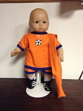 SOCCER OUTFIT WITH  MATCHING BAG FITS AMERICAN GIRL DOLL/BITTY BABY ORANGE  NEW