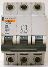 New Merlin Gerin 10A Multi-9 3-Pole Miniature Circuit Breaker, 24089, C60N B10