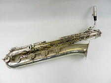Saxophone Baritone sax Weltklang silver + case + mouthpiece used Real Photo 76