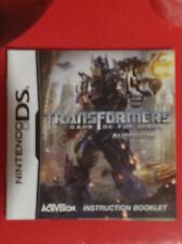 NINTENDO DS - Transformers Dark of the Moon : Autobots Instruction Booklet Only