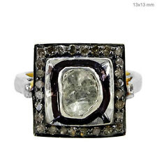 NEW Pave Natural Rose Cut Diamond Ring 925 Sterling Silver Jewelry FREE RESIZING