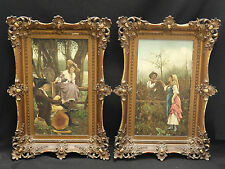 "PAIR of ANTIQUE 19 c ITALIAN PAINTING ""SEDUCTION"" * FABULOUS PERIOD FRAME"