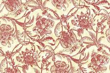 Wallpaper Designer Van Luit  Red Toile Jacobean Floral Vine on Cream Yellow Faux