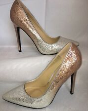 Silver Ombré Shoes Size 6 Gold Stiletto Shiny Glitter Metallic Wedding Prom