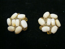 Vintage West Germany White Glass Beads Cluster Clip On Earrings