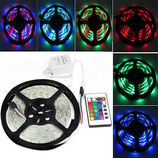 Car 12V 5M 300 LED 3528 SMD RGB Flexible Waterproof Strip Light Lamp + 24 Key IR