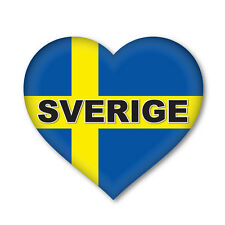 2 x SWEDISH/SVERIGE SWEDEN Heart Flag, car, van decal sticker