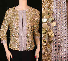 $1695 NWT ST JOHN COUTURE Gold Sequins & 7mm Crystals on Lace Jacket sz  2 4 6