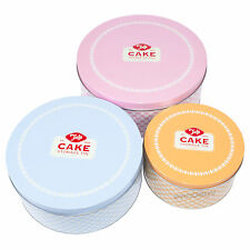 Set of 3 Retro Round Cake Storage Tins Conatiners Carrier Caddy Birthday Cupcake