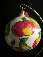 Christopher Radko WINTER MEADOW/Apple/Pear/Fruit Glass Ball Xmas Ornament, Italy
