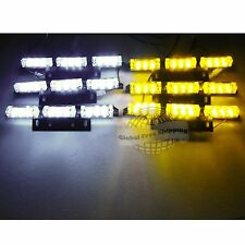 54 WHITE & AMBER LED Emergency Warning Strobe Lights 6 Bars Deck Dash Grill