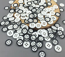 200pcs 4-Hole Round Resin Black border Buttons Fit sewing scrapbooking craft 9mm
