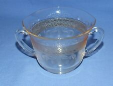 Vintage Clear Glass Open Sugar Bowl w/ Twin Handles - Amber Band, Floral Design