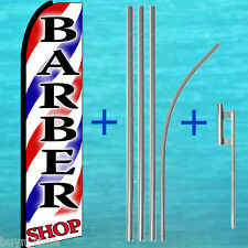 BARBER SHOP 15' SWOOPER FLAG KIT w/ Mount Advertising Sign Feather Bow Banner