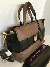 INNUE Leather Satchel Purse Bag/PLUS STONE/Made in Italy/Beige & Black/NWT