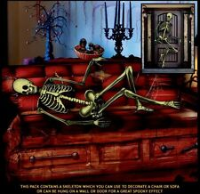 5FT SKELETON DOOR COVER PLASTIC DECOR ALL WEATHER HALLOWEEN WALL HANGING CHAIR