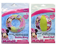 Disney Minnie Mouse Daisy Set - Kids Swim Ring Tube Float + Pool Beach Ball Toy