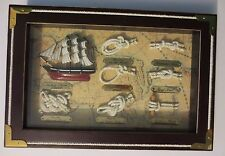 Marine Knots in Shadow Box Featuring 1869 Cutty Sark Ship - Brass & Rope Details